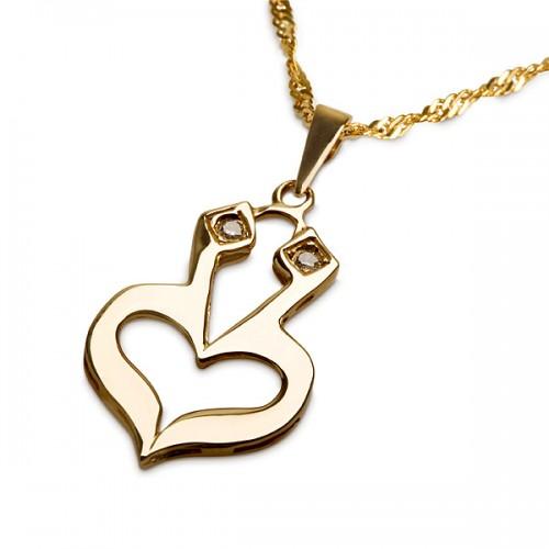 Jewish heart large_with diamonds